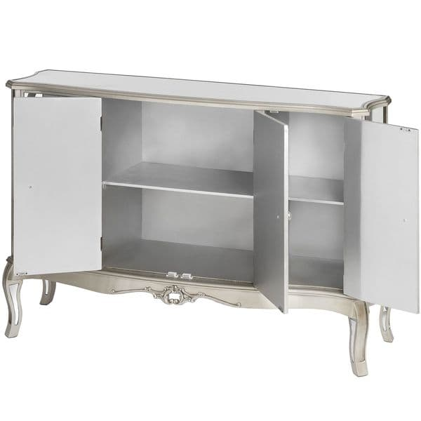 Argente Mirrored Sideboard Cabinet - Flat Silver